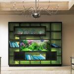 Современный стеллаж с встроенным аквариумом