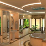 Ванная комната с встроенными аквариумами