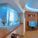 Современный аквариум в гостиной