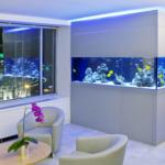 Современный аквариум в комнате отдыха
